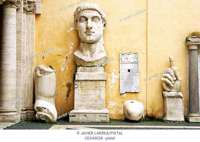 Remains of statue of Emperor Constantine II at courtyard of Palazzo dei Conservatori, Capitoline Museum. Rome. Italy