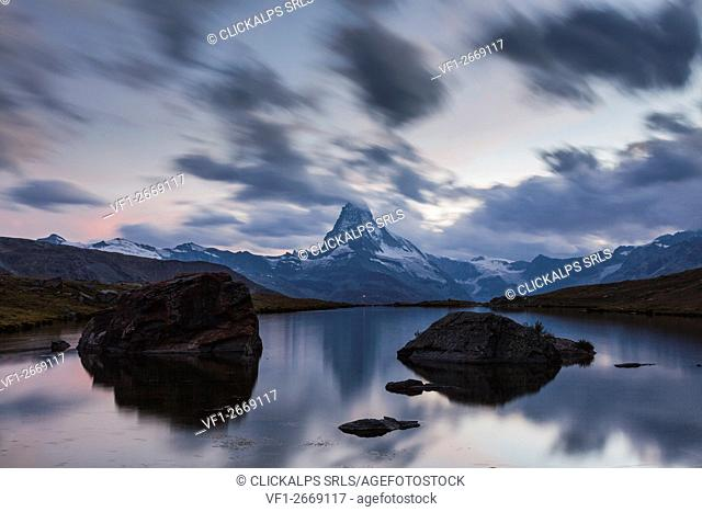 Stellisee, Zermatt, Switzerland. Matterhorn views from Stellisee at blue hour