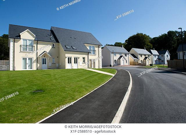 New 'executive' style detached and semi-detached houses on a suburban private housing estate development on the outskirts of Aberystwyth Wales UK