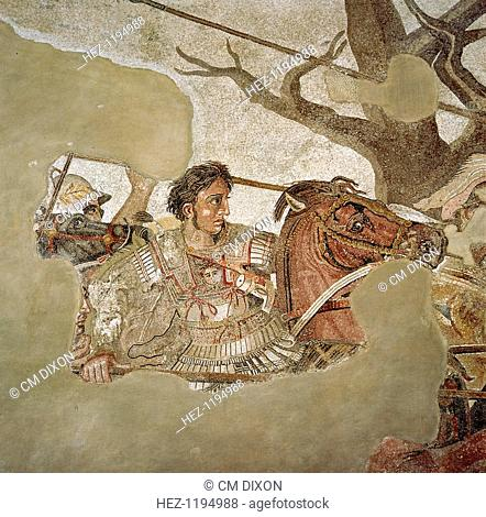 Roman mosaic of Alexander the Great at the Battle of Issus in 333 BC, Pompeii, Italy, (1st century AD). Alexander the Great (356 BC-323 AD) fighting the Persian...