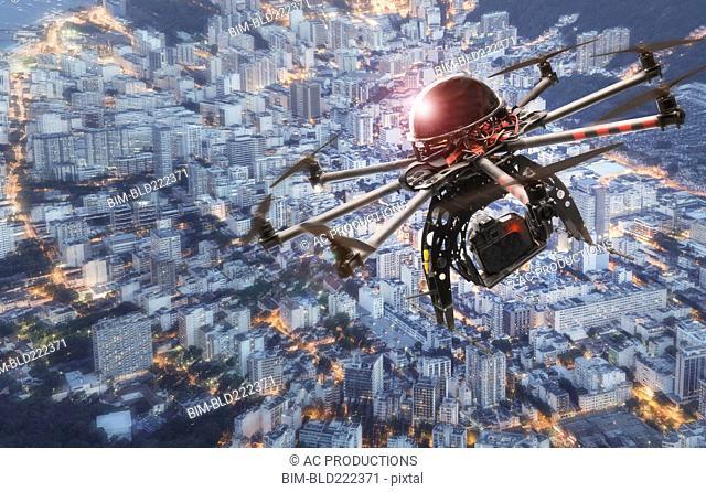 Drone hovering over city, Rio De Janeiro, Brazil