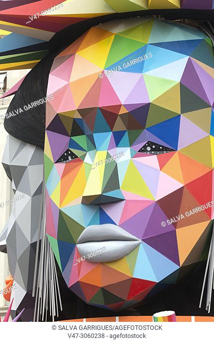 Detail of the failure of the City Council designed by Okuda San Miguel, Valencia, Spain