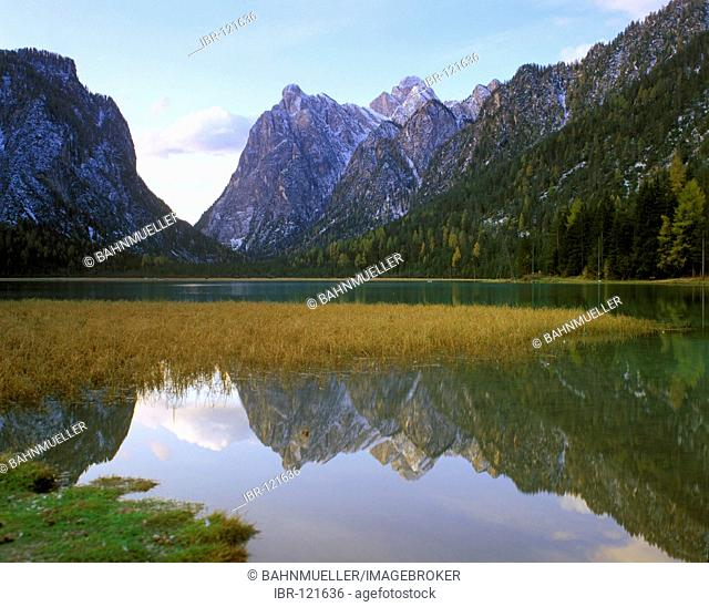 Lake of Toblach in the Höllenstein Hoellenstein valley South Tyrol Italy Italia