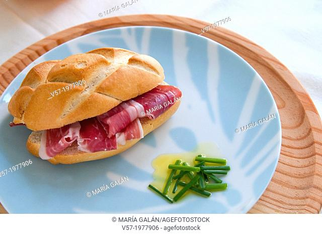 Spanish tapa: Iberian ham sandwich. Spain