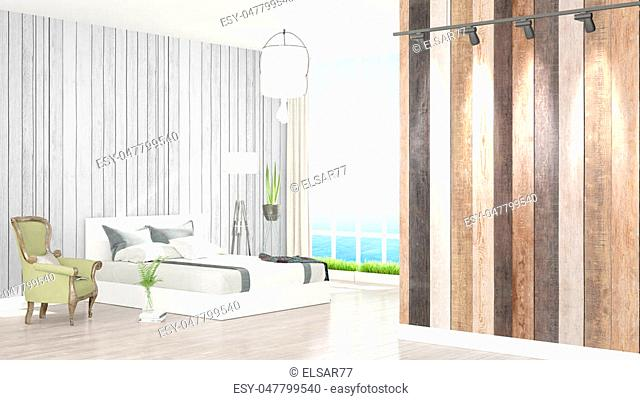 Beautiful modern bedroom interior with empty wall. 3D rendering