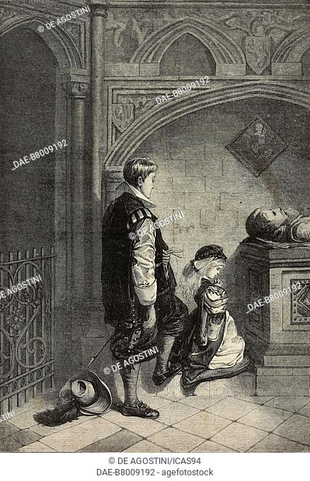 The Anniversary, Prayer for the missing, engraving by William Hollidge after a drawing by Frans Huard, from The Illustrated London News, No 1686, December 30