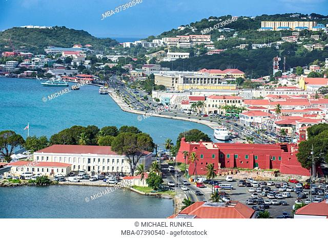 Overlook over Charlotte Amalie capital of St. Thomas with Fort Christian, US Virgin Islands