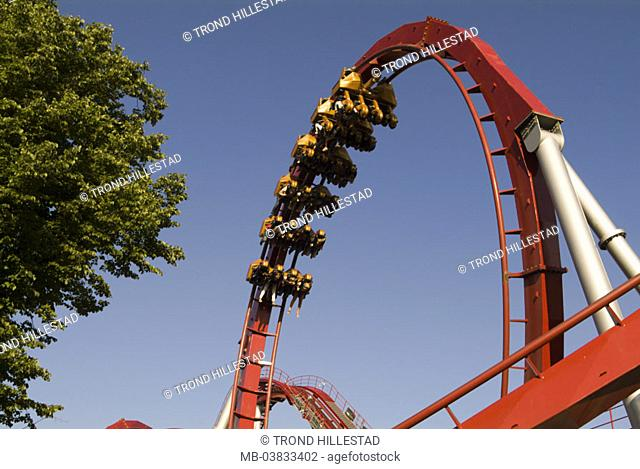 Roller coaster, loop, from below,    Amusement park, casual park, driving business, roller coaster trip, fun, enjoyments, leisure time, attraction, speed