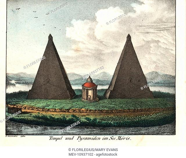 Temple and pyramids on Lake Karun (Moeris), El Faiyum, Egypt. Handcolored lithograph from Friedrich Wilhelm Goedsche's Complete Gallery of Peoples in True...
