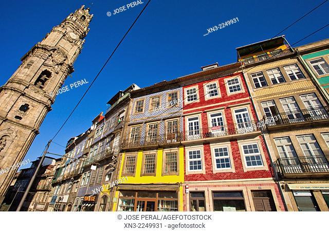 Clérigos tower, the Torre dos Clérigos, The Clérigos Church, Igreja dos Clérigos, Bell tower, Baroque church, Porto, Portugal, Europe