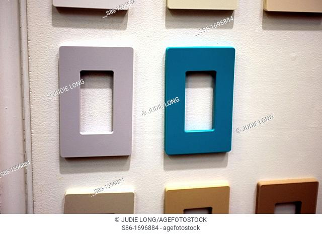 Switch Plate Covers Displayed in a Retail Hardware Store