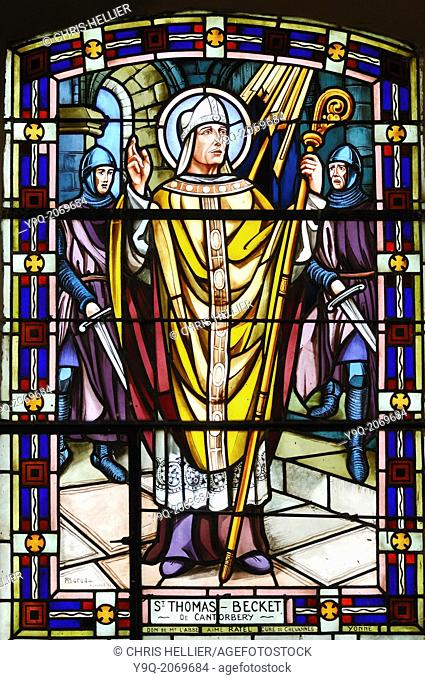 Stained Glass Window of Saint Thomas Beckett Church Avrieux Savoie France