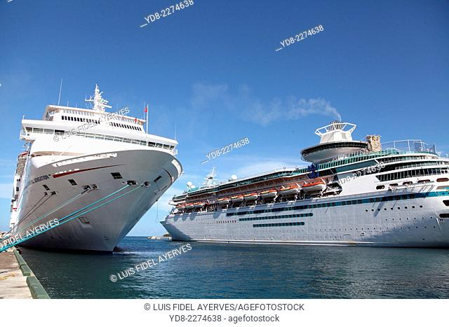 Cruise ships anchored in the port of Nassau, Bahamas
