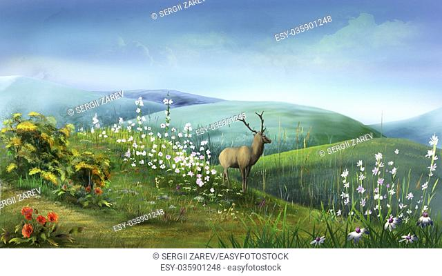 Digital painting of the Deer in the Hills