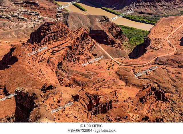 The USA, Utah, San Juan county, Moab, Dead Horse Point State Park, Colorado Gooseneck, Shafer Trail Road, view from the Dead Horse Point Overlook