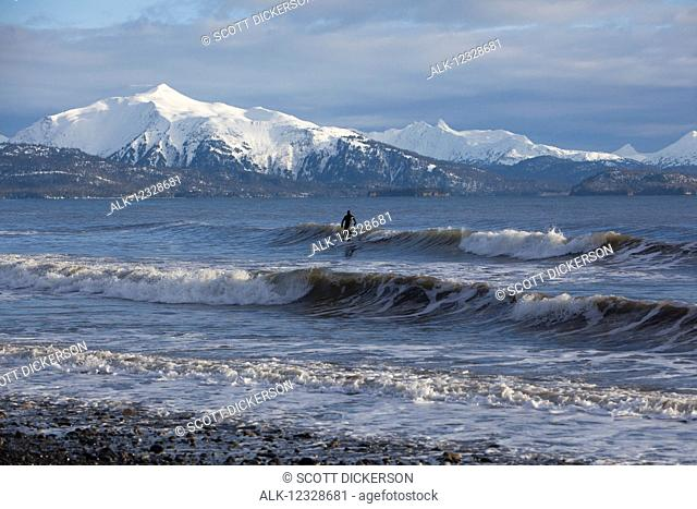 Surfer in Kachemak Bay, South-central Alaska; Homer, Alaska, United States of America