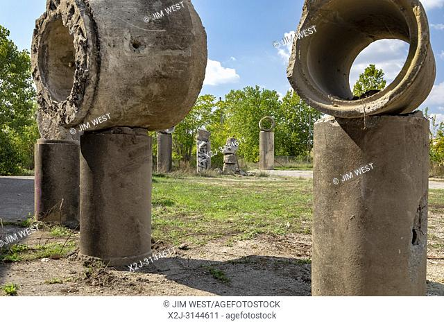 Detroit, Michigan - An art project in the style of Stonehenge created by artist Scott Hocking out of sewer pipes an other discarded concrete objects in...