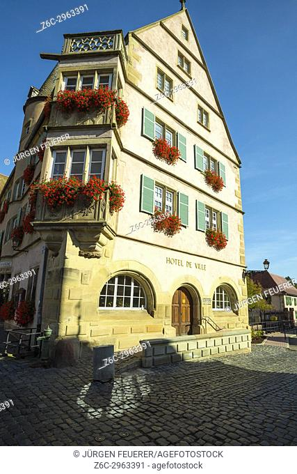 guildhall of the Renaissance in the village Boersch, on the Wine Route of Alsace, France