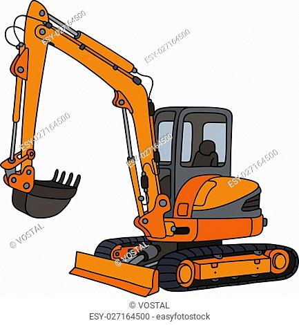 Hand drawing of an orange small excavator