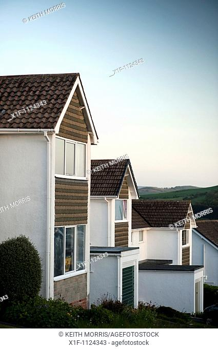 Three 1960's homes on a Suburban housing estate, Aberystwyth Ceredigion Wales UK
