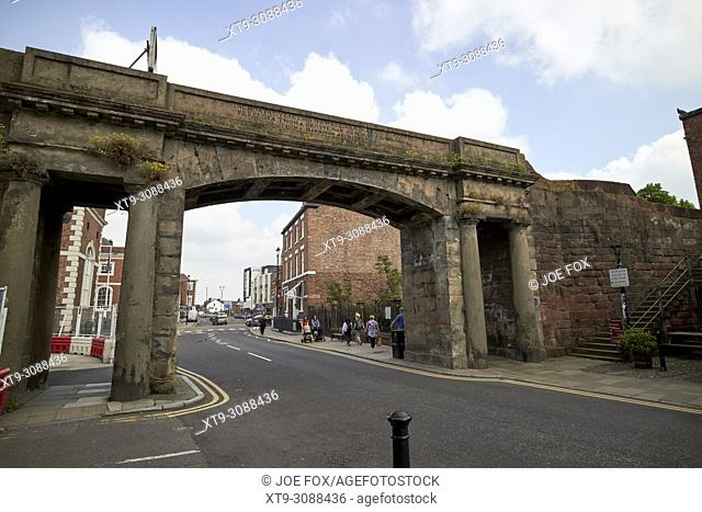Northgate in the city walls of chester cheshire england uk