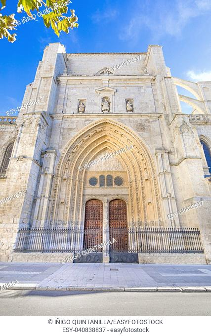 back door of landmark cathedral of San Antolin, gothic monument from fourteenth century, in Palencia city, Castile Leon, Spain, Europe