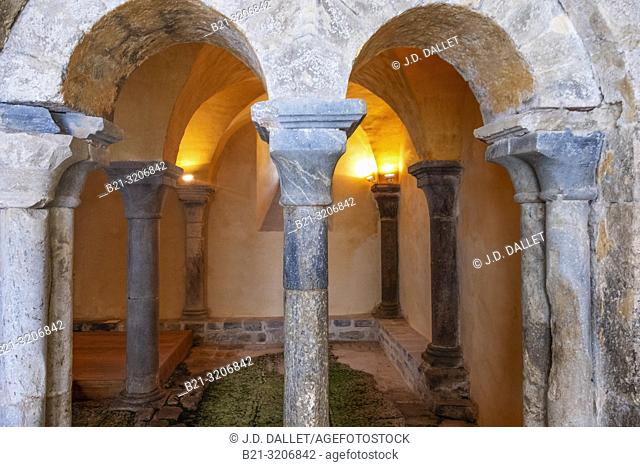 France, Auvergne, Cantal, Mauriac: Remains of Saint Peter's abbey.The abbey was built in the 12th century to replace an earlier Carolingian monastery