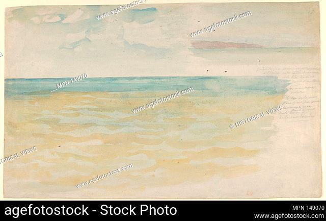 The Sea at Dieppe. Artist: Eugène Delacroix (French, Charenton-Saint-Maurice 1798-1863 Paris); Date: ca. 1852-54; Medium: Watercolor on laid paper; Dimensions:...