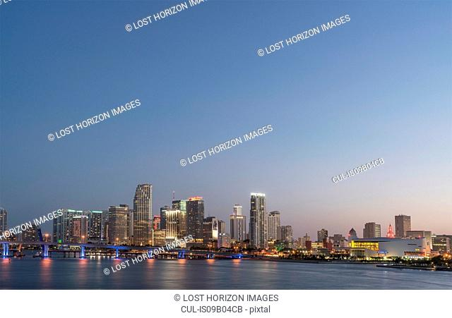 Miami skyline at dusk, Florida, USA