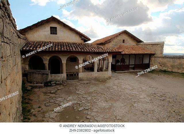 One of the kenassa buildings, Çufut Qale, Chufut-Kale (Jewish Fortress), cave city. Crimea, Ukraine, Eastern Europe