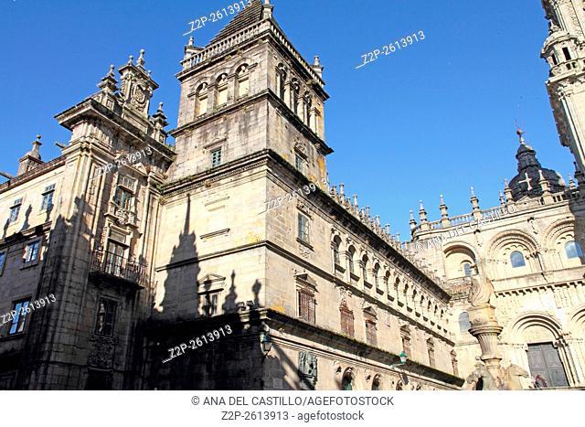 Platerias square. Santiago de Compostela cathedral Galicia Spain
