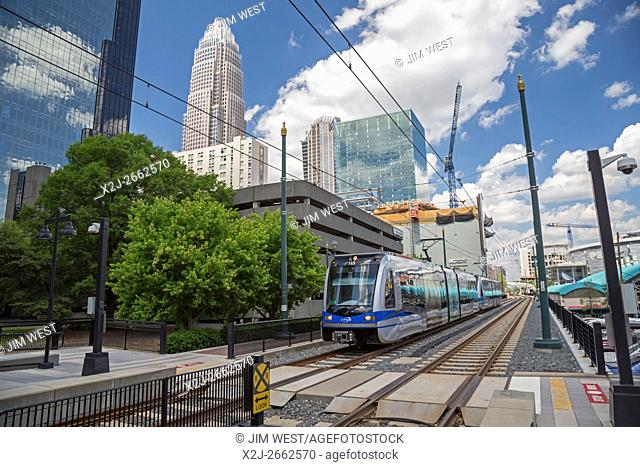 Charlotte, North Carolina - A train arrives at an uptown station of LYNX Charlotte, the city's light rail system