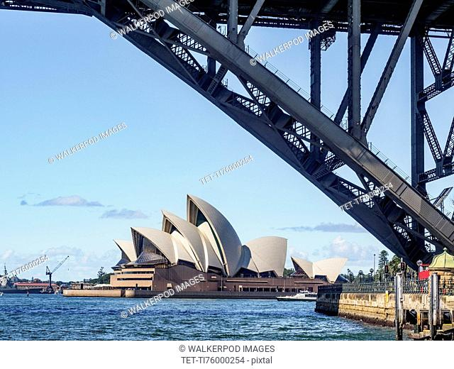 Australia, New South Wales, Sydney, Part of bridge with Sydney Opera House in background