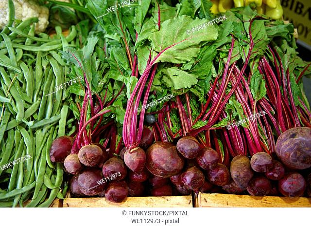 Fresh beetroot with leaves & beans in a market - Syros Greece