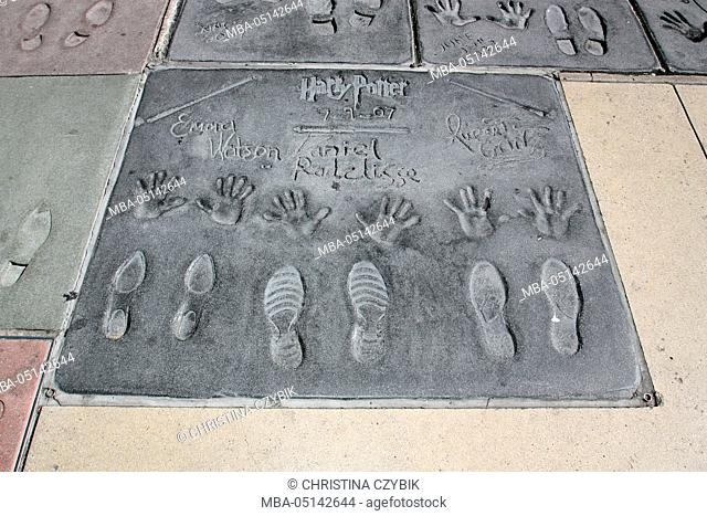 TCL Chinese Theatre Hand- and Footprints on Hollywood Boulevard: Harry Potter actors Emma Watson, Daniel Radcliffe, Rupert Grint