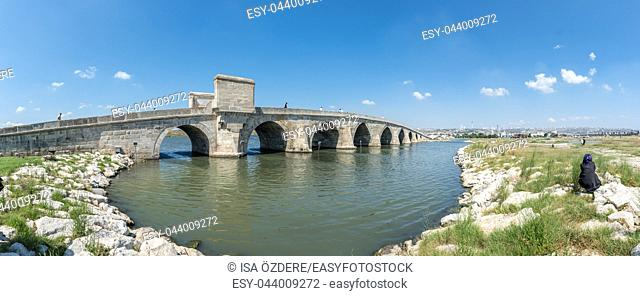 Panoramic view of Kucukcekmece Mimar Sinan(Architect Sinan)Bridge which was built by Ottoman Architecture Mimar Sinan (Architect Sinan)