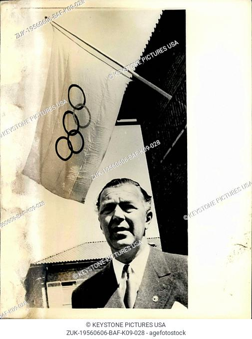 Jun. 06, 1956 - Prince Bertil Opens Olympic Villages. Ready For The Equestrian Games.: Prince Bertil (44) of Sweden performed the ceremony of opening the two...