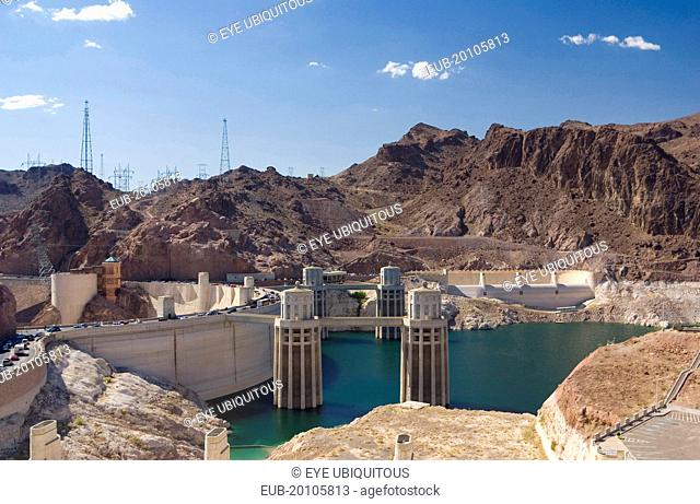 View of towers at Hoover Dam