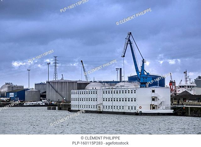Arrival of pontoon De Reno in the Ghent port. Former floating prison from the Netherlands will now be used to accommodate up to 250 asylum seekers at the...