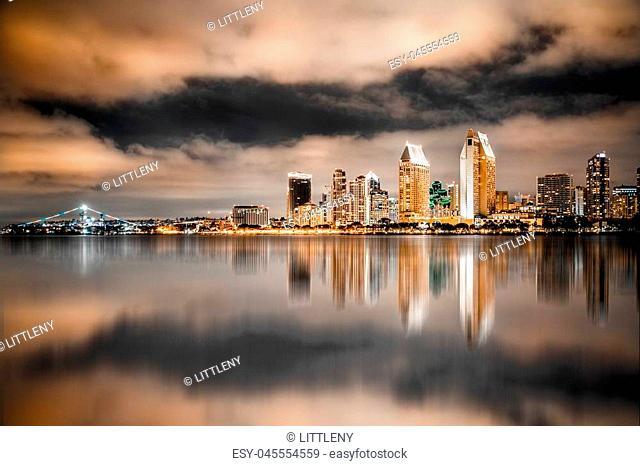Beautiful view of San Diego California skyline lit up at night
