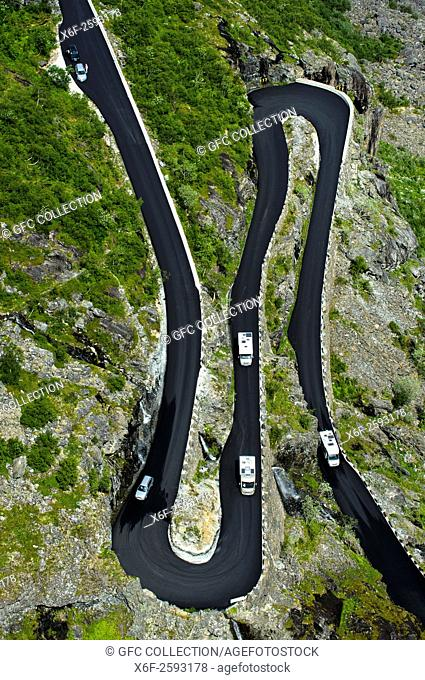 Double hairpin bends of the Trollstigen mountain road near Andalsnes, Rauma Municipality, Møre og Romsdal county, Norway
