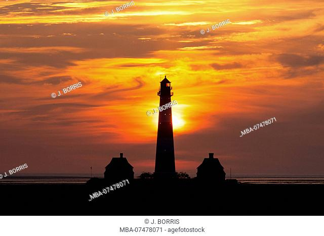 Lighthouse Westerheversand in the sunset
