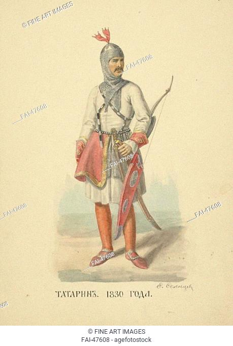 Tatar Man of 1830 (From the series Clothing of the Russian state) by Solntsev, Fyodor Grigoryevich (1801-1892)/Colour lithograph/Book design/1869/Russia/Russian...