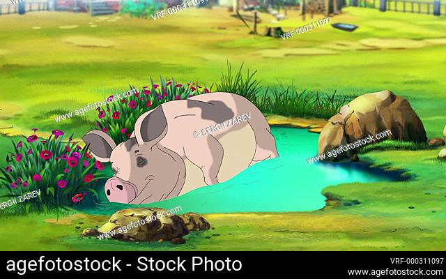 Big Pink Pig Sleeping in a Puddle in a summer day. Handmade animation, looped motion graphic