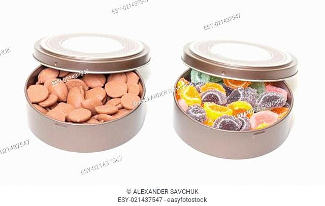 Colorful Jelly and Chocolate Candies in tin cans