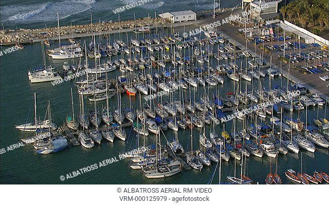 Aerial footage of Tel Aviv's Marina