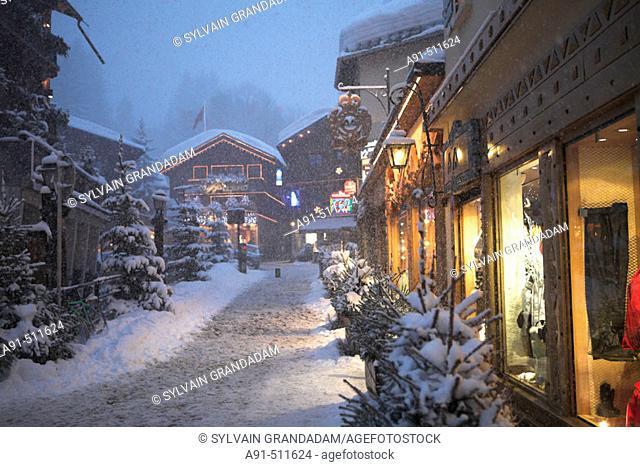 Megeve winter resort under snow. Haute-Savoie (74). France