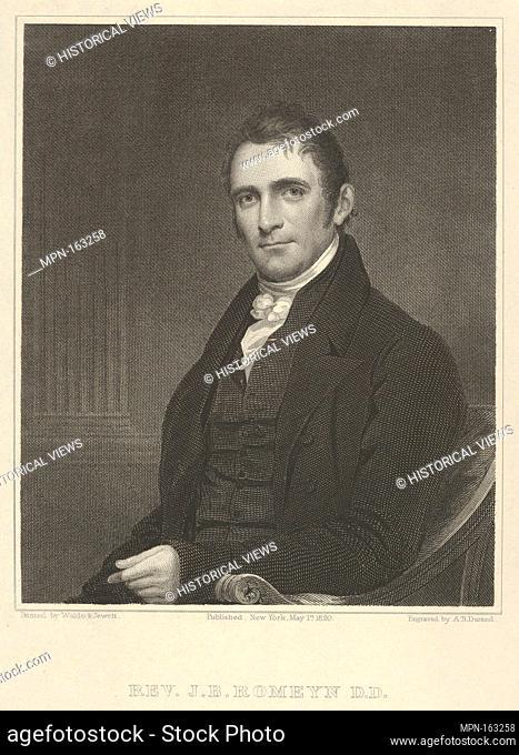 Rev. John Brodhead Romeyn, D. D. Artist: Asher Brown Durand (American, Jefferson, New Jersey 1796-1886 Maplewood, New Jersey); Artist: After Samuel Lovett Waldo...