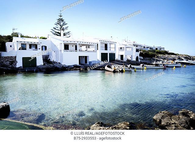 Cala Biniancolla in the early morning, calm sea. Minorca, Balearic Islands, Spain