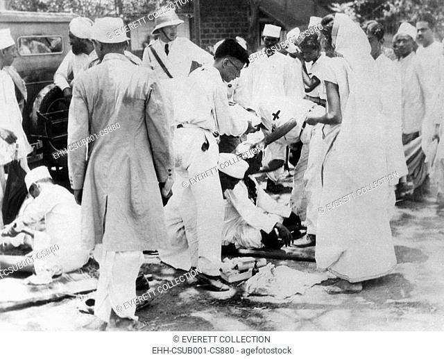 Gandhi followers continued their raids on salt works after Gandhi's imprisonment. June 1930. After the 'rebels' raided the Wadala Works near Bombay